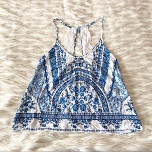 In Bloom Blue White Floral Lace Camisole Top Sz M